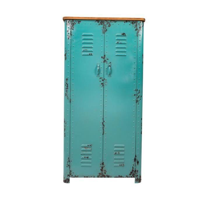 armoire casier en m tal rusty dutchbone couleur bleu achat vente armoire de chambre. Black Bedroom Furniture Sets. Home Design Ideas