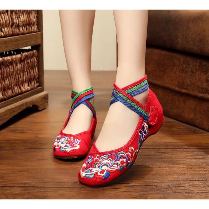Baskets compensées Chaussures velcro Fille Femme