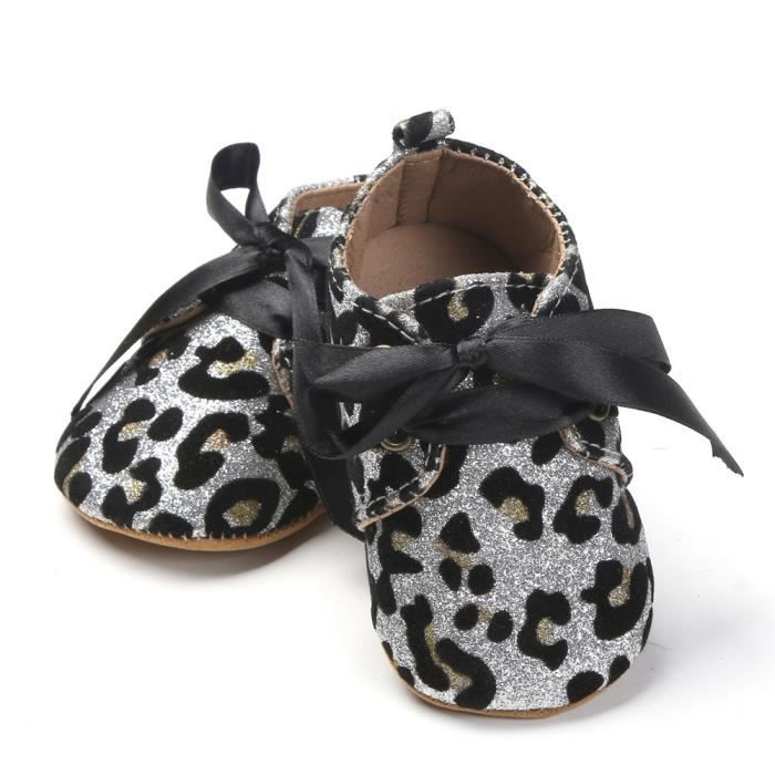 BOTTE Nouveau-né bébé fille garçons sequins chaussures léopard jusqu'à glisser dentelle bow cravate sneaker@Blanc 9C5J00Sel5
