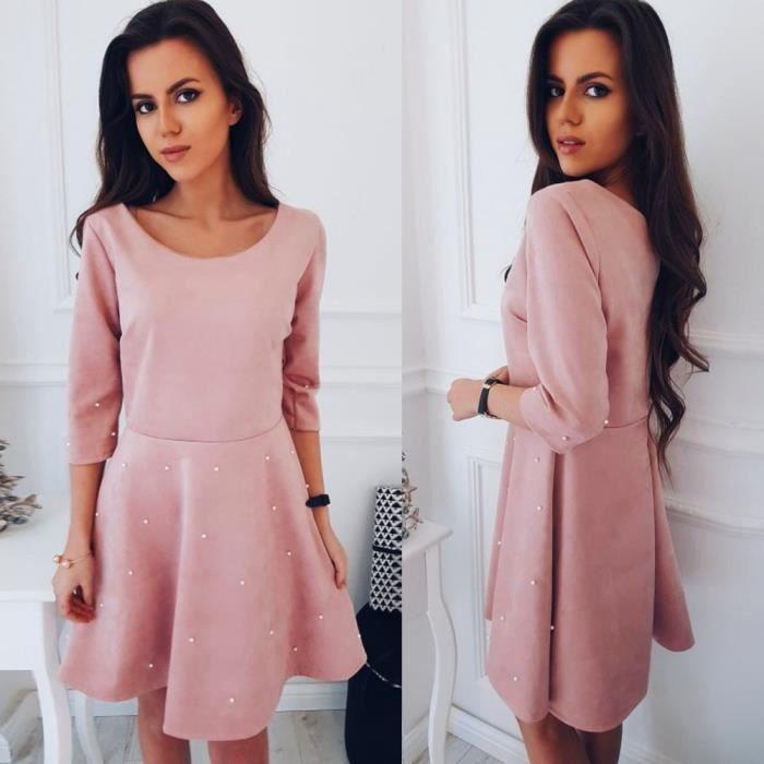 Neck robe de Rose Populaire O dames femme soirée FZP80108141 Deessesale®Mode SAqxFwn