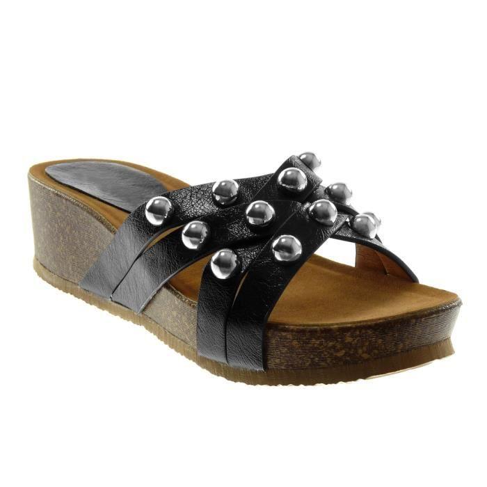 Angkorly - Chaussure Mode Sandale slip-on plateforme femme multi-bride clouté perle Talon compensé 5 CM - Noir - AF603 T 37 MjZibWK