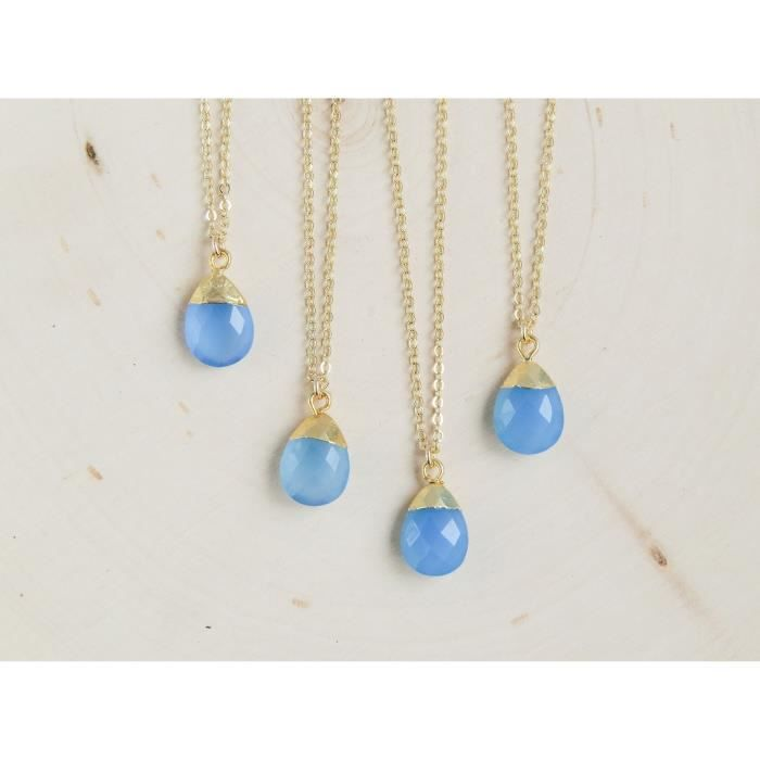 Womens Blue Teardrop Pendant Necklace Gold-plated - 18-20 EMLDP
