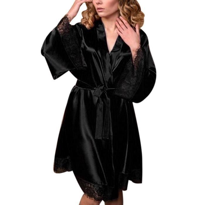 Babydoll Lingerie Set En Bain Kimono De Noir Sexy Soie Femmes Robe Nuit Chambre Chemise QdxoCrBeEW