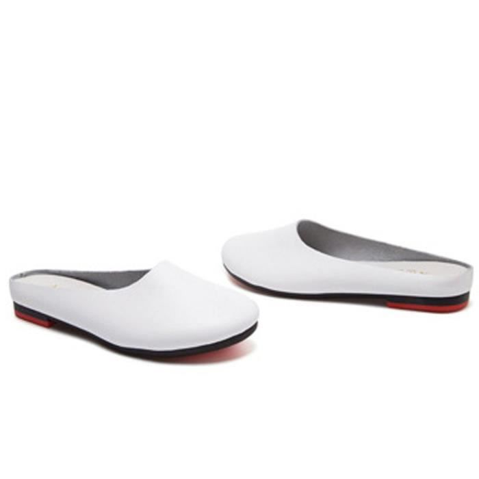 Slip-on Casual en cuir solide Slipper Mule Mocassins Flats Chaussures R13DT Taille-38