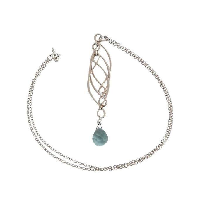 Gemshine - Femmes - Collier - Pendentif - Aquamarine Quartz - 925 Argent - Bleu - INFINITY - 7,5 cm