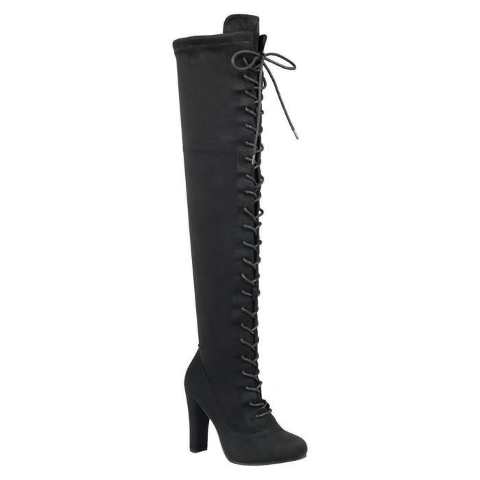 Lace-up Long Comfy Suede Block Style Over The Knee High Chunky Heel Long Boots WCYGO Taille-37 1-2
