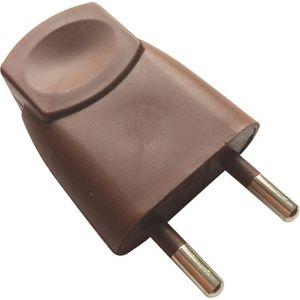 VOLTMAN Fiche électrique mâle - 6A - 2P - Marron