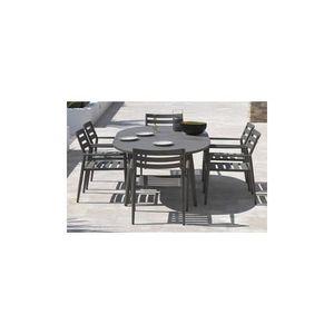Kit GABIN couleur taupe en aluminium: Table rectangulaire 180x90cm + ...
