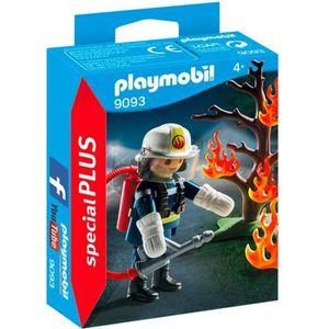 FIGURINE - PERSONNAGE PLAYMOBIL 9093 - Pompier avec Arbre en Feu