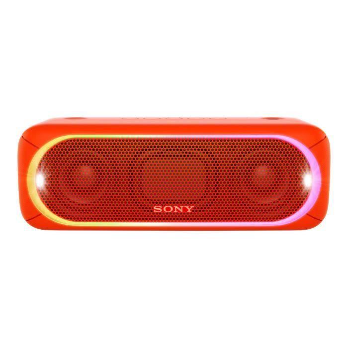 SONY SRS-XB30 rouge Enceinte Bluetooth 4.2 et NFC - Résistante à l'eau IPX5 - appairage des enceintes entres elles - Rouge
