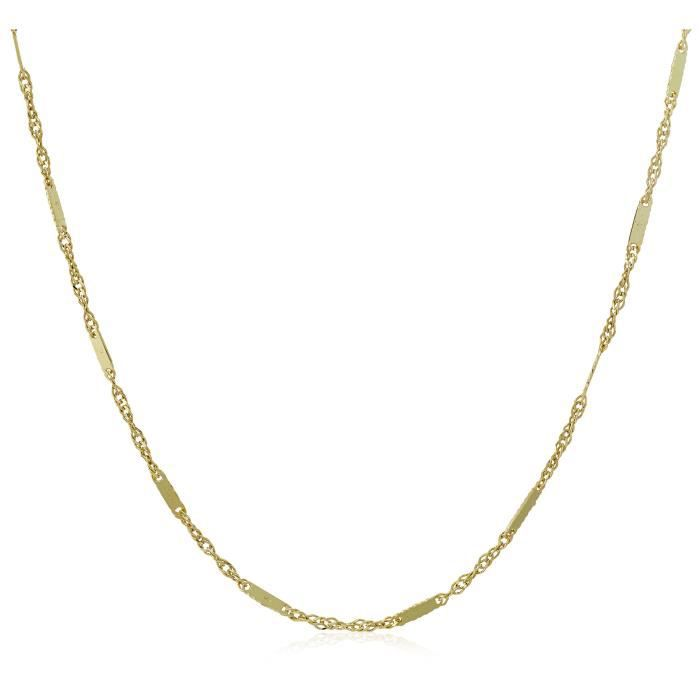 14k Yellow Gold 1.2mm Mirror Singapore Chain Necklace, 18 G0I0I