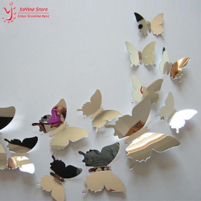 Voler Papillon Pour Chambre D\' Enfants Sticker Mural Miroir ...