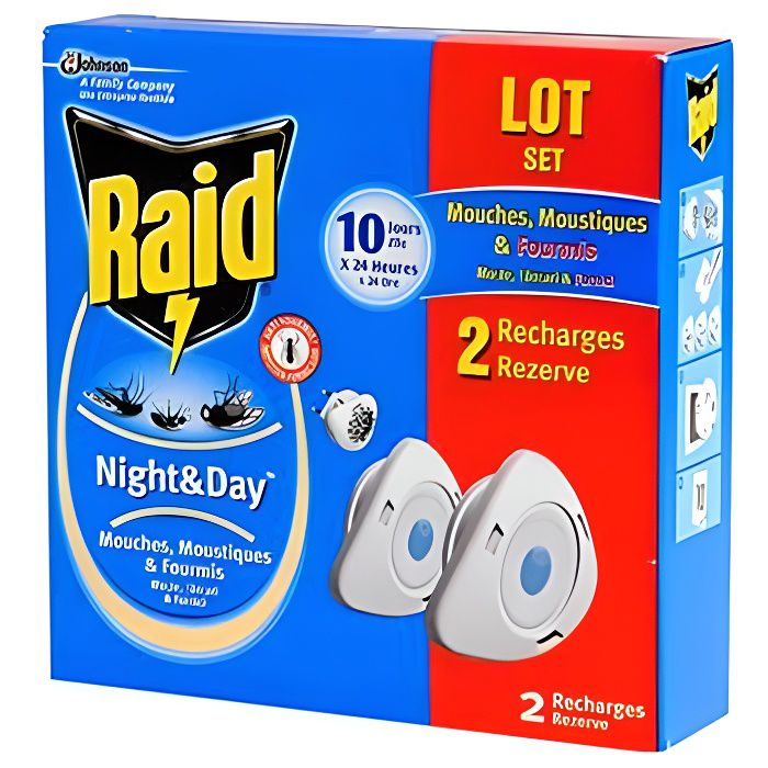 raid recharge night day format eco x2 achat vente produit insecticide raid recharge night. Black Bedroom Furniture Sets. Home Design Ideas