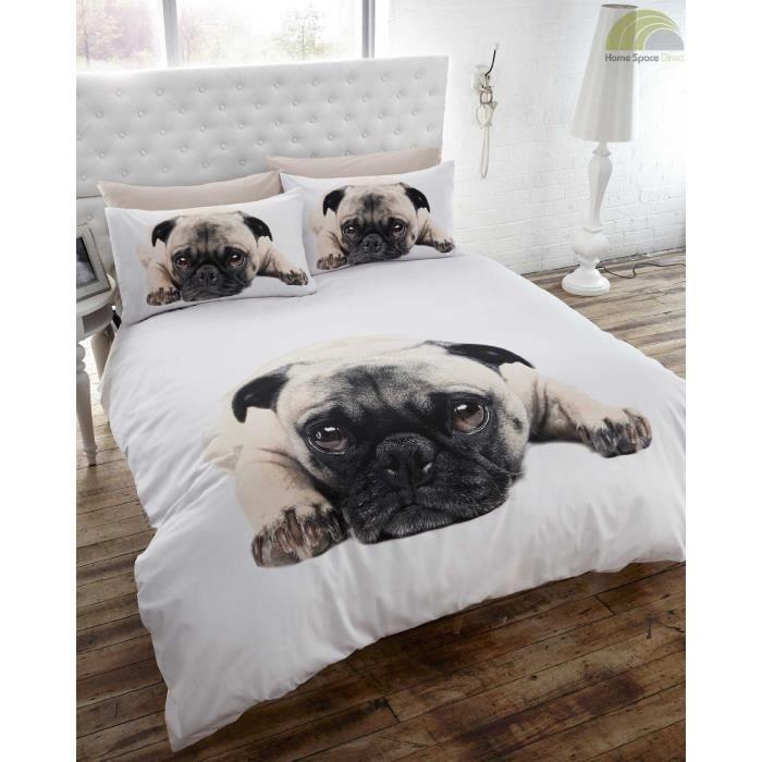 parure de lit housse de couette chien carlin achat vente parure de drap soldes d s le 10. Black Bedroom Furniture Sets. Home Design Ideas