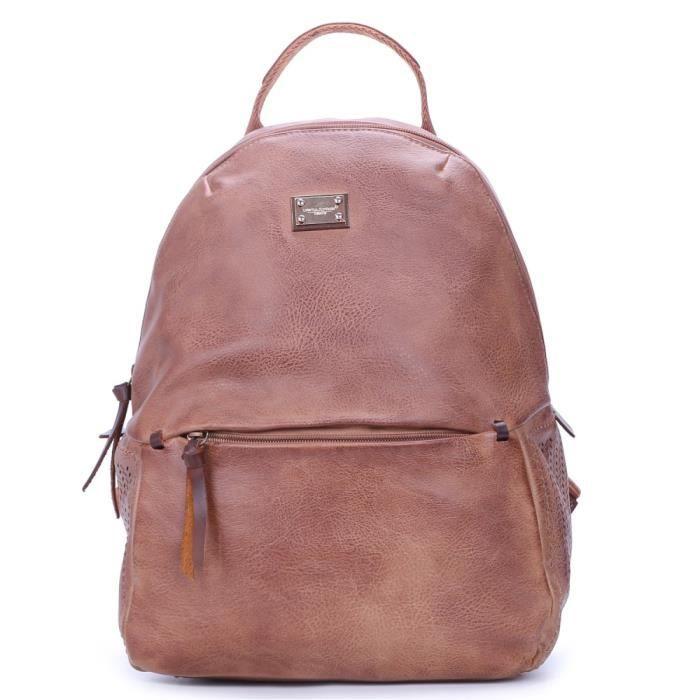 90f81a203a David Jones - Sac à Dos Femme Vintage Style Cuir - Cartable Fille - Fashion  Backpack Collège Cours Etudiante Mode Tendance - Marron