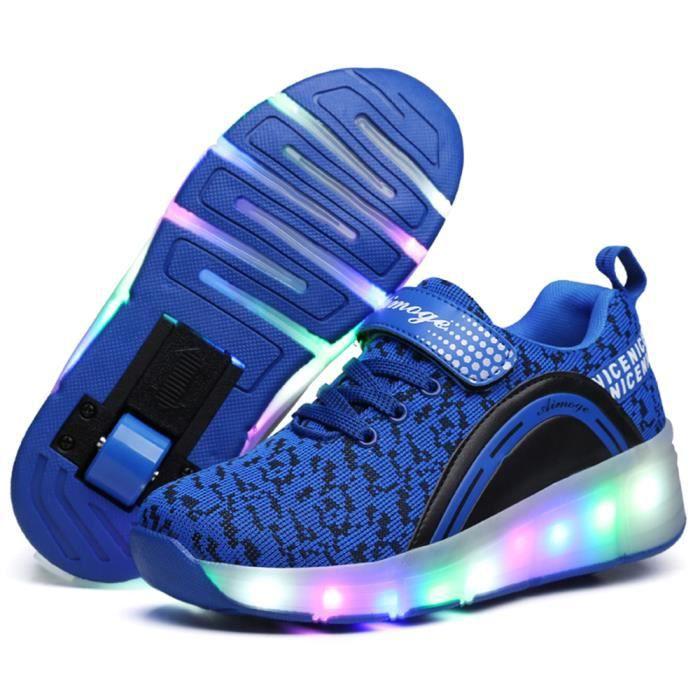 noir Chaussures Led rose Baskets Bleu Gar Avec ons Enfants Roulettes Automatique Sneakers Filles Roues De Lumineuse Patinage EpxZFq