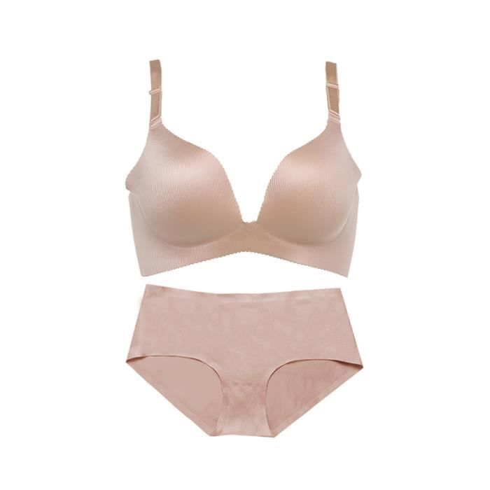 femme Lingerie Soutien-gorge Set Pure Color transparente sans fil Push-Up  Simple soutiens-gorge confortable e519921e31e
