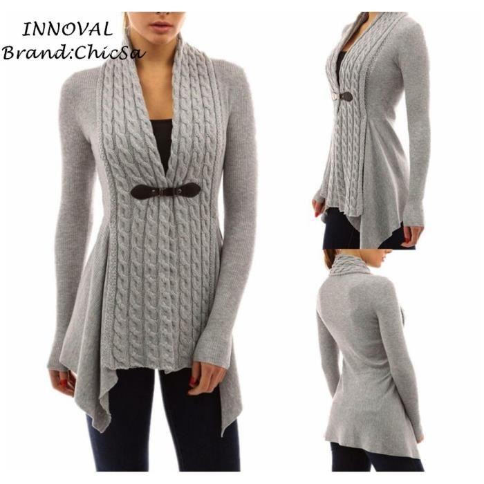 740a21e0141 Européen Hiver Printemps Tricot Cardigan Femme Mode Irrégulier Conception  Slim Pull Cardigan Manche Longue Loisirs Vêtement