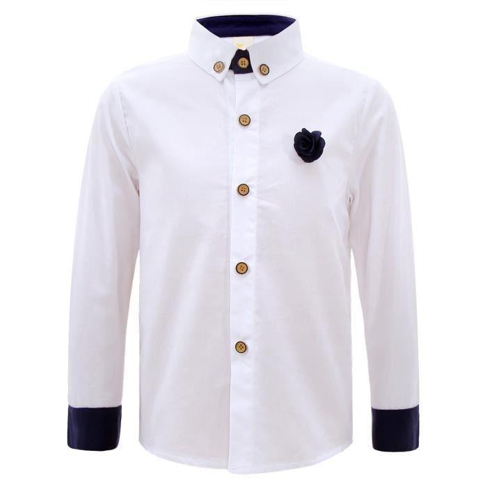 e5a8798ebfc3d GEMVIE Chemise Garçon Enfant Sweat-Shirt Manche Longue Classique Mariage  Cérémonie Blanche