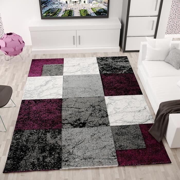 tapis salon en damier violet 240x340 cm - Tapis Deco