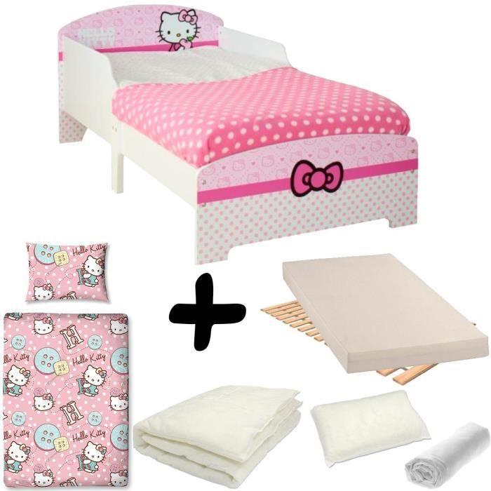 Pack Complet Lit Enfant Hello Kitty Lit Matelas Parure Couette