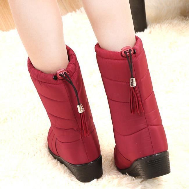 wedge hiver chaussures nouveau bottes hiver style frange chaussures mi veau GLAM®2017 BZUtqn8U