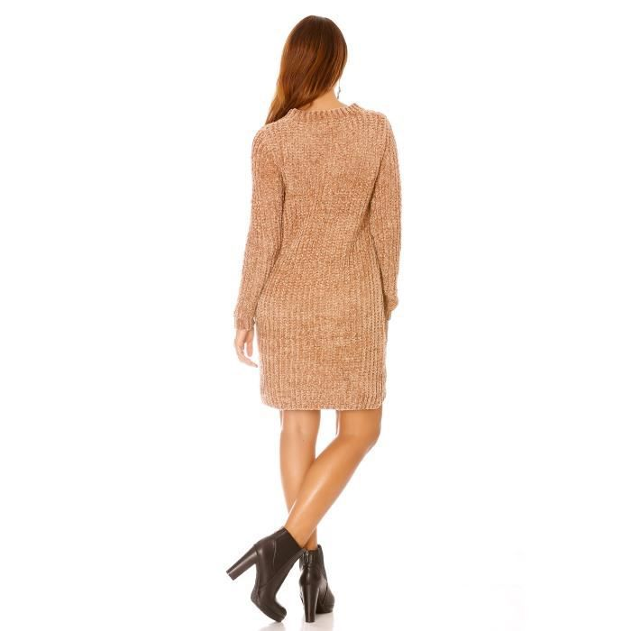 dmarkevous - Robe pull oversize taupe effet tricoté - (Unique - taupe)