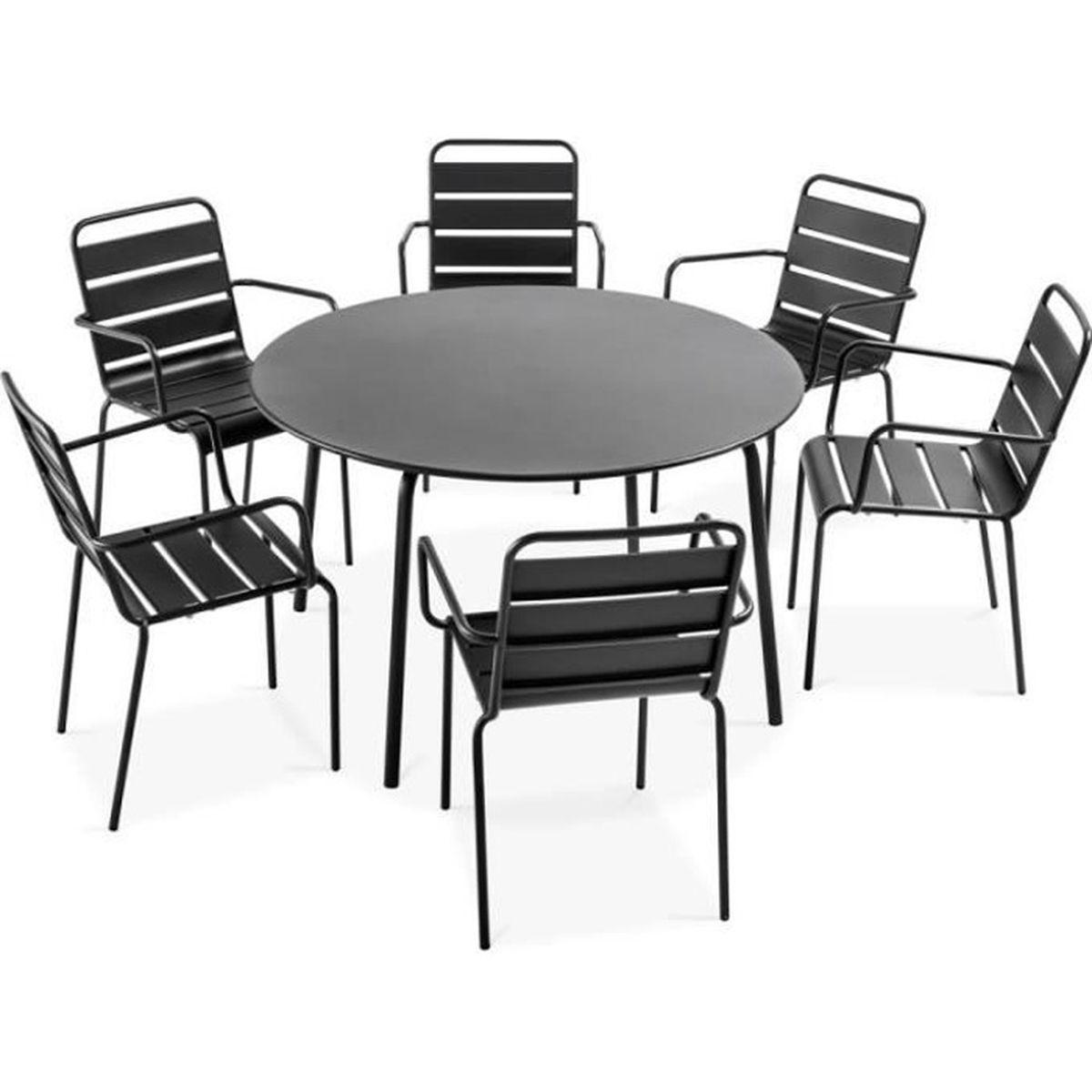 Table de jardin ronde grise et 6 fauteuils en acier Gris - Achat ...