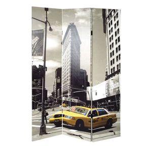 PARAVENT Paravent pliable 3 panneaux 180 cm gris et jaune