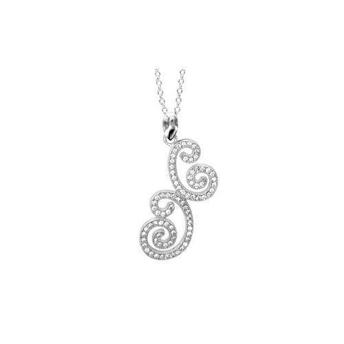 Collier argent rhodié forme arabesque oxydes blanc