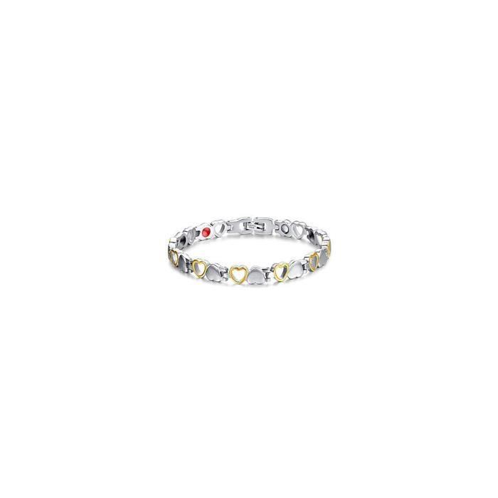 caractéristiques exceptionnelles attrayant et durable vente pas cher Bracelet femme thérapie magnétique couleur argent avec cœur