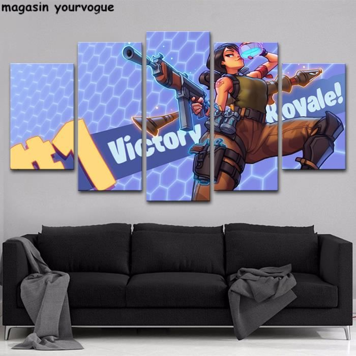 Hd Prints Pictures Wall Art Frame 5 Pieces Fortnite Games Poster