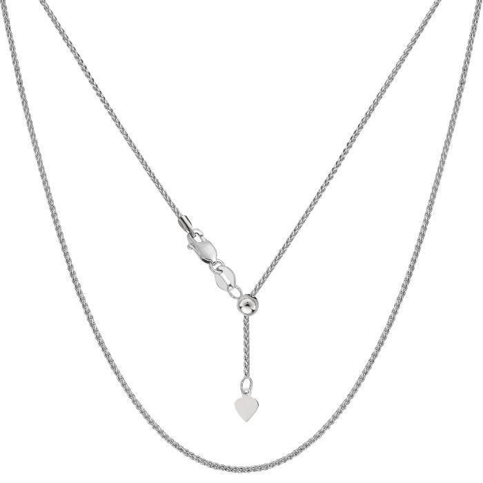Collier- 14k or blanc blé réglable, 1,0 mm, 22