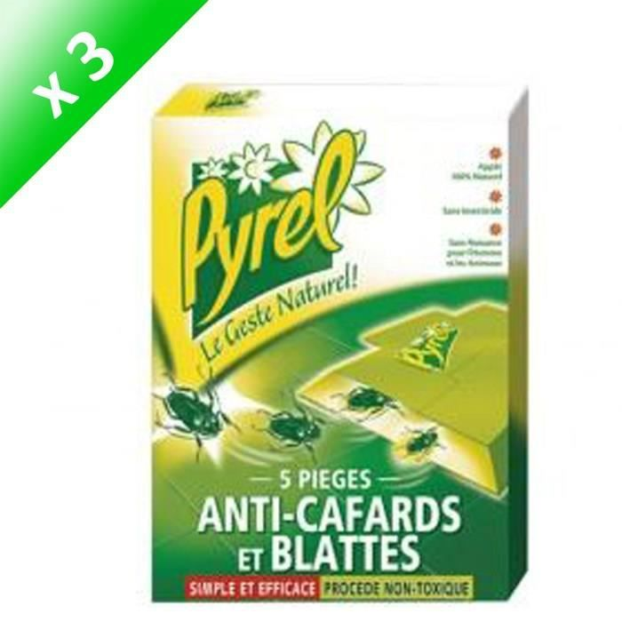 PRODUIT INSECTICIDE PYREL Pièges Anti-Cafards - Lot de 3 x 5