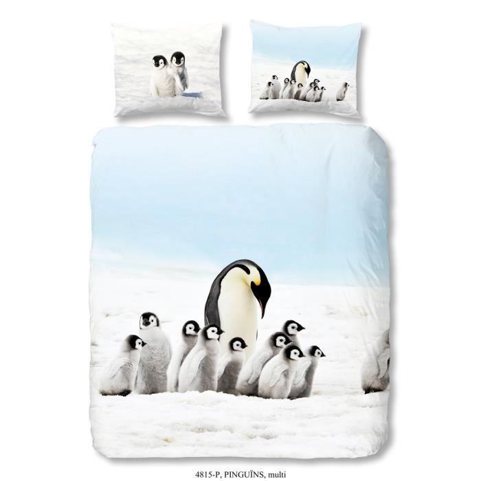 good morning parure de couette pinguins 100 coton 1 housse de couette 140x200 cm 1 taie d. Black Bedroom Furniture Sets. Home Design Ideas