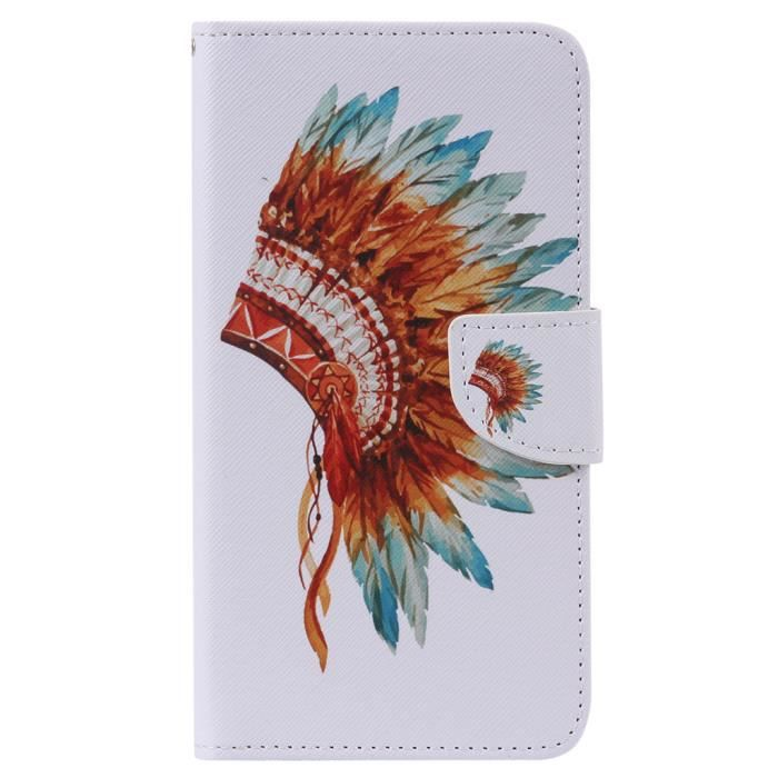 coque portefeuille plumes samsung s7