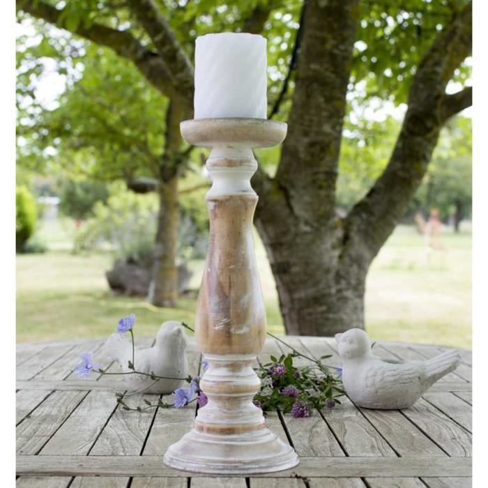 Grand bougeoir en bois shabby chic achat vente for Bougeoir shabby chic