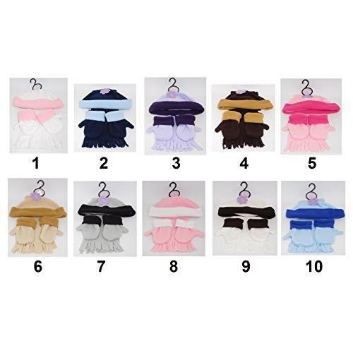 3dd377a09100 Ensemble polaire bébé 3pcs Bonnet Écharpe Gants Vêtement - Mod7 Gris Noir -  862