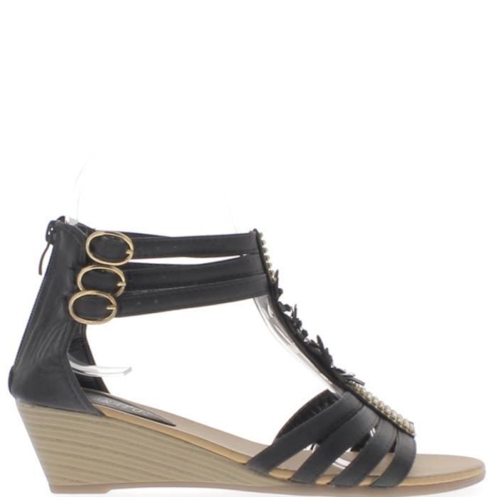 62cf238952b66 Sandales compensées noires petit talon de 5cm et strass fines brides ...