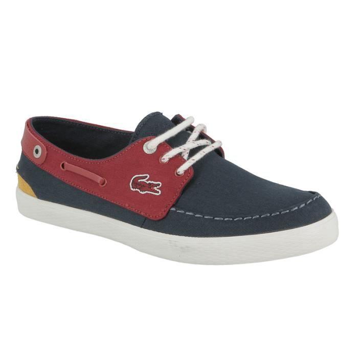 4b272f8d9e2 Chaussure bateau Lacoste Sumac 216 1 cm en toile bleu marine et rouge.