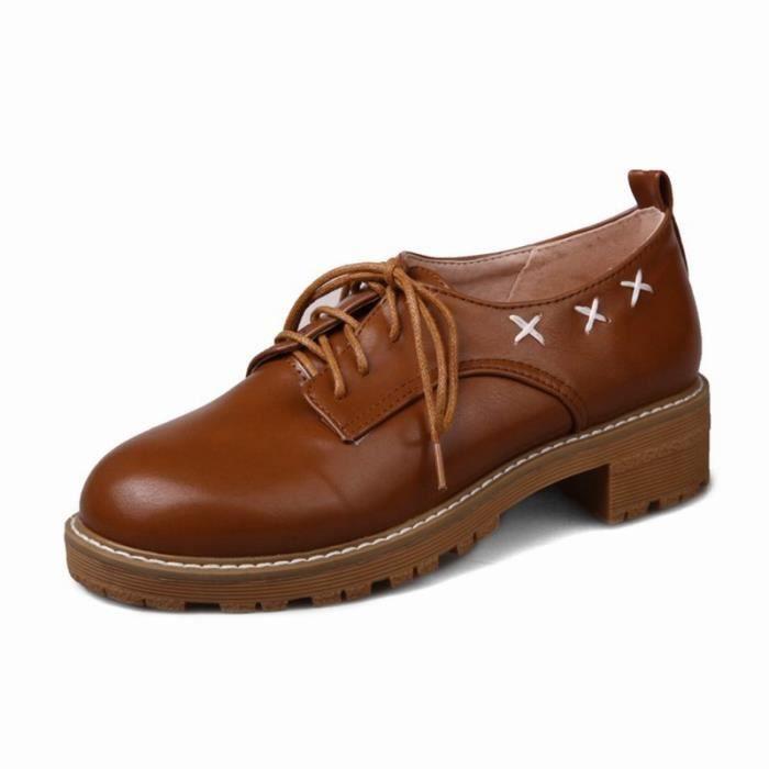 Chaussures Femme Couleur Solide Avec Broderie Richelieus En Simili Cuir Coeur Du Pentagone Avec Le Confort mY5WnxI