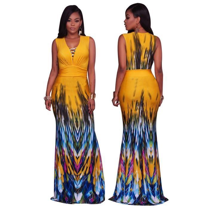 Femmes Robes Nouvelle Mode Grande Taille Longue 3D Impression Robe Confortable Milieu creux vêtement