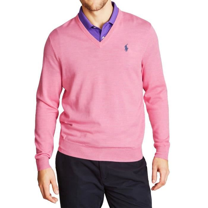 a98907554b1ae POLO by RALPH LAUREN - Pull Col V pour homme (rose - XXL) Rose Rose ...