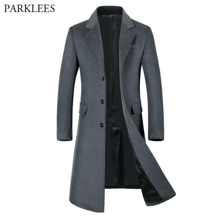 898153dbd Manteau Homme Laine Chaud Parka Veste Longue Noir Gris Trench Coat Slim Fit  Pardessus Simple Caban