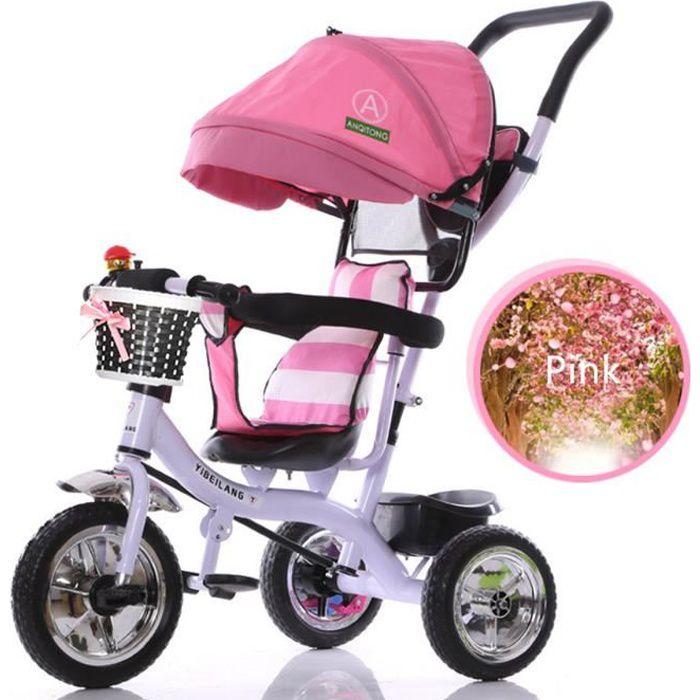 NEUFU 4 en 1 Tricycle Vélo 3 Roues Poussette Evolutif Multifonctions Pour  Enfants Rose a08eeccc357