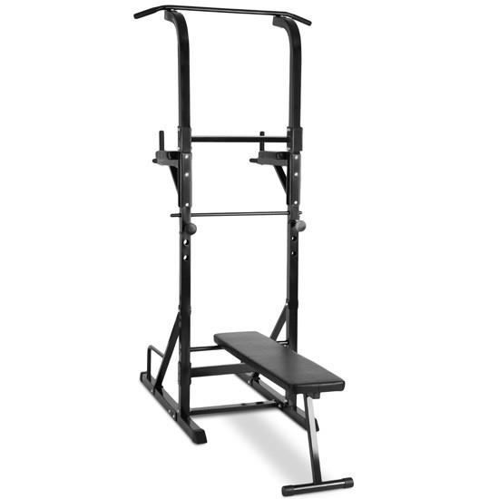 Appareil De Musculation Multifonction Banc Station Dips Barre Traction Chaise Romaine