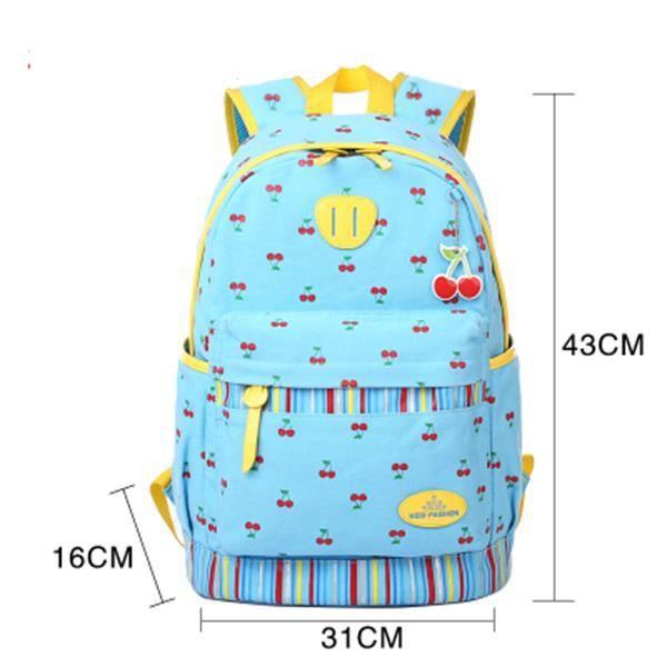 cb4308c146 Sac à Dos Loisir Mignon impression toile sacs épaule pour Femme Fille  primaire collège Lycée Cartable Scolaire Voyages Bleu