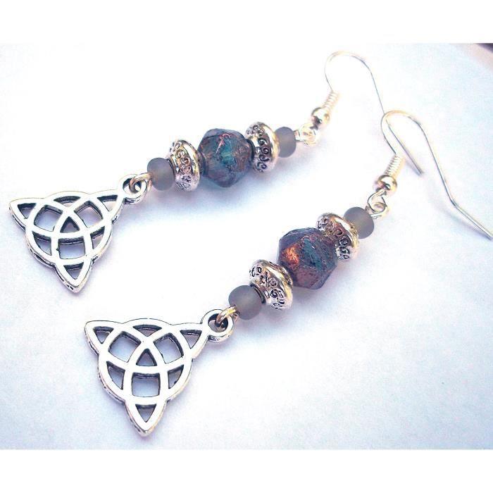 Craze Perlé Celtic Knot Earring Triquetra Fleck Denim Gris Argent Handcrafted Dangles