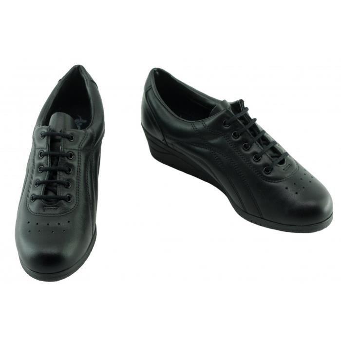 Davina – Tennis compensé et souple pour Femme chaussure sport à lacet confortable pieds sensibles marque Bopy confort cuir noir JU6fz