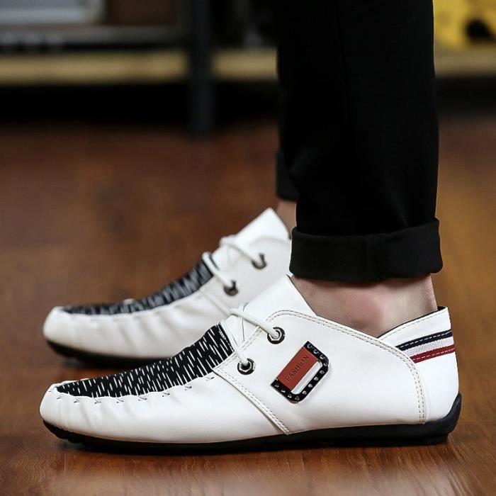 Mode Hommes Mocassins Noir - Blanc - Bleu Chaussures en cuir Man Casual Loisirs Hommes Flats,blanc,8,4835_4835